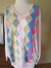 Tommy Hilfiger Pastel  Pink Argyle Spring V Neck elbow pads Sweater 1X EEUC