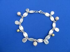 STERLING SILVER CHARM BRACELET OVAL LINK CHAIN WITH SIM PEARLS 24.4 g