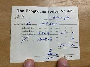 1983 MASONIC SUBSCRIPTION RECEIPT FOR PANGBOURNE LODGE (No.4381)