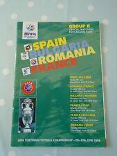 UEFA Euro 1996 Group B Matchday Programme Spain Bulgaria Romania France