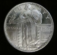 1 oz -1916 Standing Liberty silver round .999 pure One Troy Ounce - B.U.GEMS 9