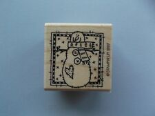 STAMPIN' UP RUBBER STAMPS FRAMED SNOWMAN USED ONCE wood STAMP