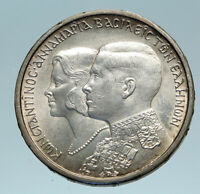 1964 GREECE Marriage Constantine and Anne-Marie Silver 30 Drachmai Coin i84157