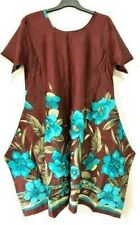 Hippie Lagenlook Tunic Top Dress Boho Beach Kaftan Size 16 18 20 22 24