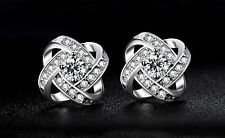 Beautiful New Silver White Gold Plated Clear CZ Accented Love Knot Stud Earrings