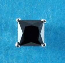 Mens Single 925 Sterling Silver 5mm Square Black Created Diamond Stud Earring