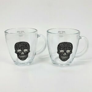 Black Crystal Metal Skull Clear Glass Mug Halloween Cup Party Goth Set of 2