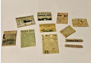 SET OF 10 NEWSPAPERS  FOR A 1/12 SCALE DOLLS HOUSE