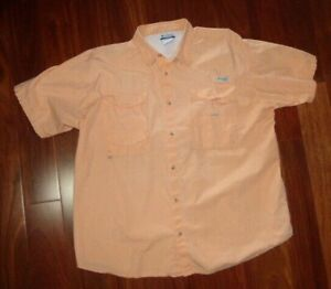 Columbia PFG XXL Orange Vented Fishing Shirt Double Chest Pocket Cotton Short Sl