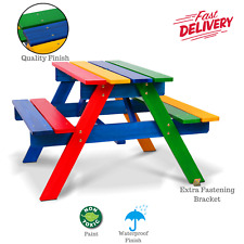Kids Bench Seat Set Table Bench Seating Colourful Wooden Indoor Outdoor Picnic