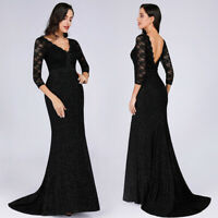 US Ever-Pretty Lace V-Neck Long Evening Dress Mermaid Celebrity Wedding Gown7856
