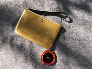 Kate Spade Glitter Gold Bug Bee Wristlet and Compact Mirror Set