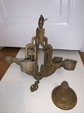 Antique Art Deco Cast Metal 5 Arm Light Fixture Ceiling Chandelier Vintage