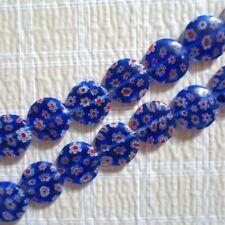 "MILLEFIORI GLASS ROYAL BLUE COIN BEADS 12MM 15"""