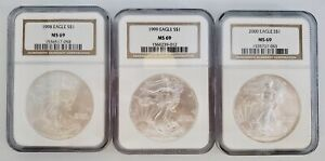 3) United States American Silver Eagles $1 Coin Lot 1998, 1999, & 2000 NGC MS69