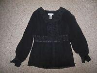 Nine West Womans 4 Small Black Chiffon Vneck Lace Mock Button Dressy Blouse Top