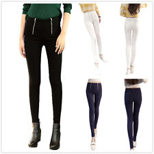 NEW WOMEN HIGH WAIST BLACK DOUBLE ZIP STRETCH LEGGINGS SKINNY FIT PANTS SIZE8-20