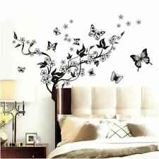 DIY PVC Wall Stickers Butterfly Vine Black Flowers Film Home Decor New