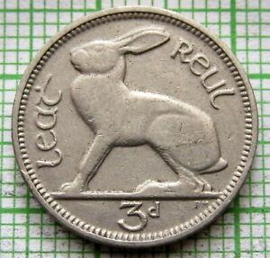 IRELAND 1928 3 PINGIN PENCE THREEPENCE, HARE, NICKEL