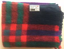 "Vintage 80s Colours DENMARK WOOL Blend PLAID BLANKET 82""x57"" Danish SCANDINAVIAN"