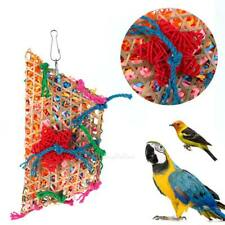 Colorful Bamboo Weave Wooden Swing Parrot Toys Bird Cage Climbing Biting Toy