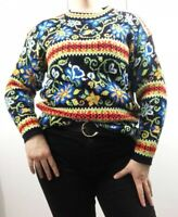 M&S Classic Pull Over Jumper Floral Multicoloured Loud Blogger Sz 14 16