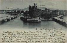 1897 Mondschein-Litho-AK Schweiz Genf Geneve Helvetia nach Eilbeck gelaufen