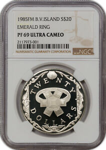 1985-FM B.V.ISLAND SILVER 20$ EMERALD RING NGC PF 69 ULTRA CAMEO FINEST KNOWN