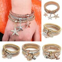 3Pcs Crystal Owl Charm Bracelets Gold Elephant Heart Pendant Rhinestone Bangle