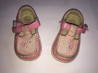 Girls Clarks Pink White Floral First Shoes Size 3.5 H Buckle Fasten Summer SB1