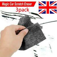 3PCS NANO Magic Car Scratch Remover Polish Cloth Light Paint Scuffs Surface UK..