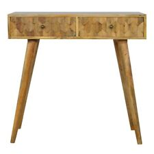 Console Table Light Mango Wood Carved Storage Drawers Brass Handles Mid-century