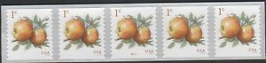 US FRUIT 2016 SCOTT #5037 APPLES 1c PN5 MINT NH VF PLATE #P111111 COIL 5 STAMPS