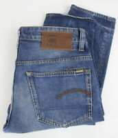 G-STAR RAW 3301 LOW TAPERED Men's W31/L34 Whisker Blue Button Fly Jeans 25656-JS