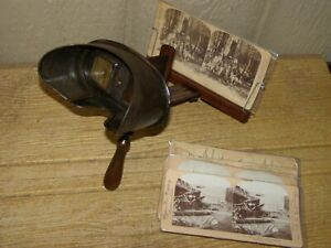 Antique Stereoscope 3D Stereo Viewer w/ 7 Span Am War Stereo View Picture Cards