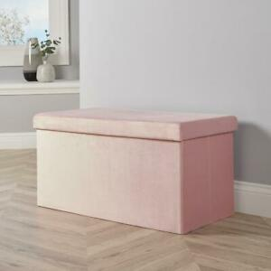 Large Folding Ottoman Pink Blush Velvet Fabric Chest Solid Storage Space Saving