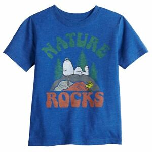NEW PEANUTS SNOOPY NATURE ROCKS FAMILY FUN SHIRT YOUTH BOYS SZ S, M
