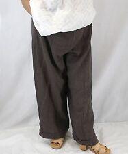 NEW NWOT Flax Plus Size Marled Striped Cuffed 100% Linen Buckaroo Pants 2G (2X)