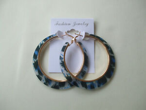 Animal Print Acrylic Hoop Earrings Blue New