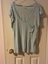 Forever 21/ I Love H81 Blue And Gray Stripe Tee L