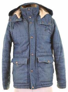 LEVI'S Mens Denim Padded Jacket Size 36 Small Blue Cotton EV05