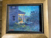 "J Scott Wolf ""Home Exterior Scene"" Oil On Canvas Painting - Signed And Framed"