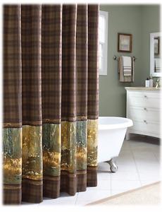 "Whitetail Birch Fabric Shower Curtain 72"" x 72"" Dark Brown Plaid Yellow Gold Doe"