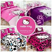 Kids Hello Kitty Bedding Duvet Quilt Cover Bedding Set Twin Queen PolyCotton
