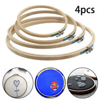 4 Pcs Round Embroidery Hoop Set Bamboo Circle Cross Stitch Hoop Ring 17-26cm