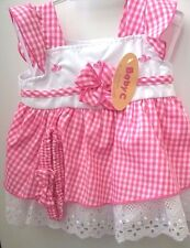Baby Girls Pink Gingham Dress with Bloomers & Headband 3-6 months Clearance BNWT