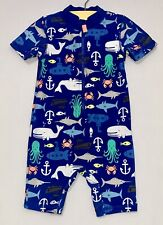 Carter's Upf 50+ Sea Life 1pc Blue Full Body Rash Guard Short Swimsuit, 18 mos.