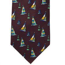 "Utopia Men's Tie Handmade Burgundy Sailboat Boat Nautical Novelty Necktie 57"""