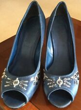 New Look Navy Peep Toe Jewelled High Heeled Satin Shoes Size 5 Used