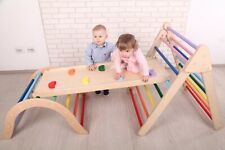 Foldable Wooden Climbing Set - ladder with Climber + Slide and Bridge